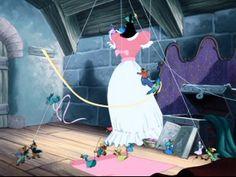 birdies making Cinderella's dress