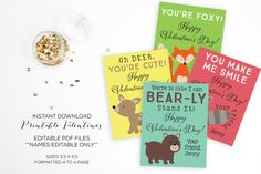 Valentines Day Printables-Printable by FeatheredHeartPrints Woodland Creatures Valentines Printables Editable PDF file