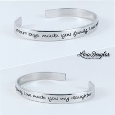 Marriage made you family, love made you my daughter #wedding #weddings #jewelry #weddingjewelry #marriage #family #love #handmadejewelry #jewelrymaking #maker #accessories #silverjewelry #handmade #etsy #etsyusa #etsyseller #etsyjewelry #musthave #silver