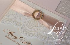 Luxurious Lace ivory and blush invitation by AlexandriaLindo, $4.50