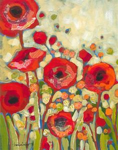 Note that painting had a blue background which is why the poppies pop so much.great painting tip! Art Floral, Wow Art, Art And Illustration, Art Plastique, Red Flowers, Night Flowers, Pretty Flowers, Oeuvre D'art, Painting Inspiration