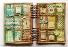 Interesting journal pages by finnabair, via Flickr