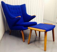 Hans Wegner STYLE Papa Bear Chair & Ottoman mid-century Danish Modern eames era