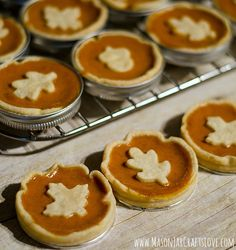 … baked in mason jar lids. That's right. I made these mini pumpkin pies using mason jar lids. They're like little spring form pans …  I even successfully made mini cheesecakes in them in the past.  This time out, I decided on mini pumpkin pies. And it was so easy …  I …