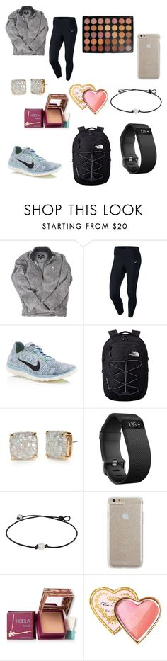 """chill school day"" by ashtonrodriguez on Polyvore featuring NIKE, The North Face, Kate Spade, Fitbit, Case-Mate, Hoola, Too Faced Cosmetics and Morphe"