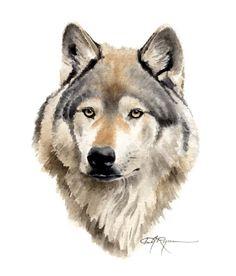 WOLF PORTRAIT aquarelle Art Print signée par l'artiste DJ Rogers