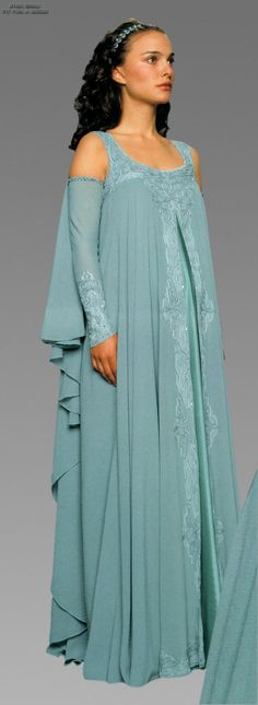 Star Wars, Episode III: Revenge of the Sith (2005). This aqua nightdress with winged back and braided applique is worn by Padme Amidala (Natalie Portman) in an emotional scene in .