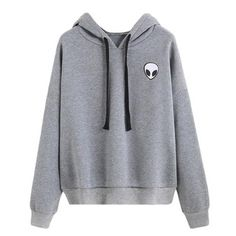 Fedi Apparel Womens Long Sleeve Hoodie Pullover Blouse Pattern Sweatshirt Grey (US Gray Hoodies) Hoodie Sweatshirts, Alien Sweatshirt, Pullover Hoodie, Sweatshirts Online, Grey Hoodie, Sweater Hoodie, Grey Sweater, Sweat Shirt, Grey Alien
