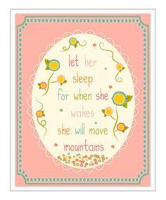 Pink 'Let Her Sleep' Round Giclée Print