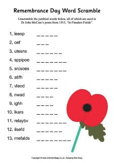 Remembrance Day word search and word scramble