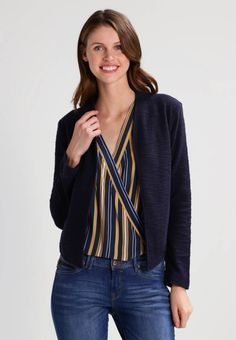 Esprit Blazer - navy for Free delivery for orders over Fabric Material, Bomber Jacket, Navy, Chic, Women's Blazers, Model, Sweaters, Cotton, How To Wear