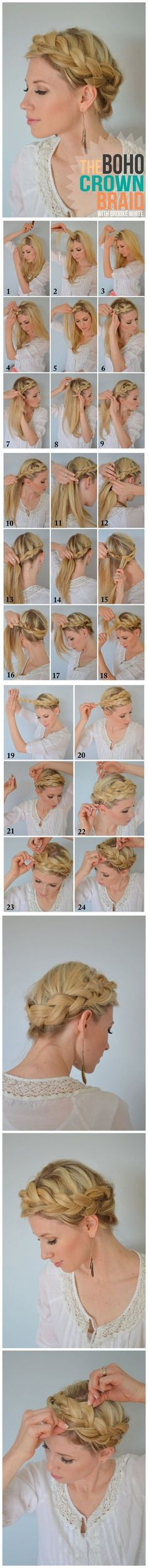 How To Make Boho Crown Braid Tutorial--I can never figure things like this out
