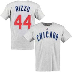 Anthony Rizzo Chicago Cubs Majestic Official Name and Number T-Shirt - Gray - $29.99