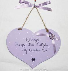 Personalised Happy Birthday heart gift plaque keepsake   eBay