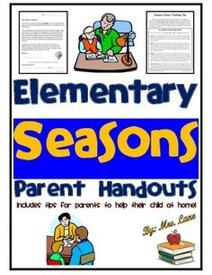 This item includes tips for parents to help their child at home with seasons. Very convenient for busy teachers and students alike.------------------------------------------------------------------------------------------------INCLUDES:-Parent Letter (encourages help at home)-Seasons Parent Teaching Tips (Includes key concepts for your child to know, questions to ask, and suggested activities)------------------------------------------------------------------------------------------------*5…