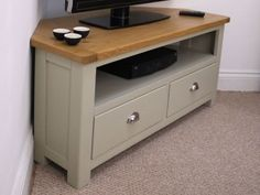 Aspen Painted Oak Sage Grey Corner TV Unit