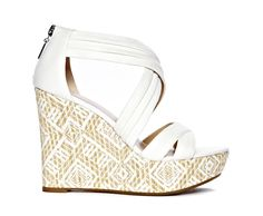 patterned wedges by nine & co. #white #pattern