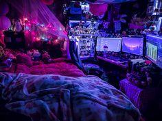Room Design Bedroom, Room Ideas Bedroom, Hippie Bedroom Decor, Gray Bedroom, Grunge Bedroom, Chill Room, Otaku Room, Neon Room, Kawaii Room