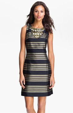Lilly Pulitzer® Beaded Neck Metallic Stripe Sheath Dress available at #NordstromWeddings - wails! no small sizes left? want this just to have this. ;) could wear to appointments.