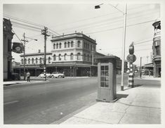 Corner of Brunswick and Gertrude Streets, Fitzroy, Photographer: Commercial Photographic Co. Rob Roy Hotel on the left, Champion Hotel on the right. Harold Paynting Collection, State Library of Victoria Image Melbourne Victoria, Victoria Australia, Melbourne Suburbs, The 'burbs, Old Photos, Vintage Photos, Melbourne Australia, Historical Photos, Corner