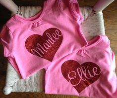 Valentine Heart customized name Heat Transfer vinyl on shirt.
