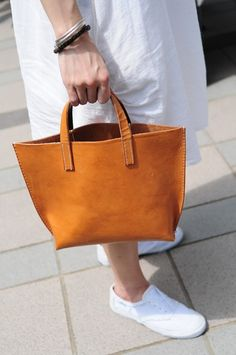 Hand Stitched Light Brown Leather Handbag by ArtemisLeatherware, $120.00