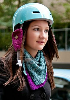 Buckman Bicyle Helmet Ear Cozy pattern by Rose Sabel-Dodge; part of the Neighborhood Knits & Crochets Too: 2014 Rose City Yarn Crawl Pattern Collection eBook available on Ravelry. Photography by Joanna Schilling of Ember Owl Photography.