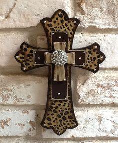 Leopard Print Cross Wall Cross Rhinestone Cross by RoseandCoDecor, $30.00