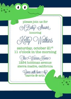 Alligator Baby Shower Invitation by AshleysPartyPretties on Etsy, $15.00 ...oh my goodness, how cute is this preppy little guy?!