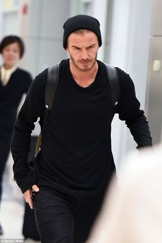 Making his arrival: David Beckham was seen in NYC on Saturday morning as he joined his family for Victoria Beckham's NYFW show