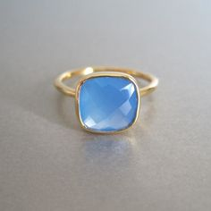 Blue Chalcedony Gold Ring | Tangerine Jewelry Shop | Tangerine Jewelry Shop