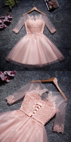 Cute Pink Tulle Scoop Neckline Half Sleeves Homecoming Dresses With Appliques · PeachGirlDress · Online Store Powered by Storenvy Mini Prom Dresses, Hoco Dresses, Quinceanera Dresses, Sexy Dresses, Beautiful Dresses, Party Dresses, Fashion Dresses, Girls Dresses, Flower Girl Dresses