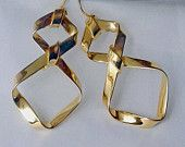 Abstract long gold earrings