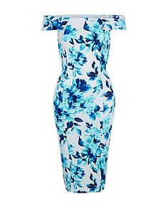 White Blue Floral Print Bardot Neck Bodycon Midi Dress  | New Look