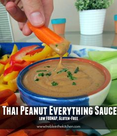 """This nutty, Thai-inspired sauce puts a unique spin on veggie dip, is perfect for pouring over cooked spaghetti squash or """"zoodles"""", and is amazing when tossed with shredded cabbage and carrots for a refreshing salad. The options are endless! While the whole low FODMAP thing has been a big learning process and has had some …"""