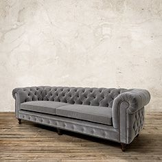 "Warwick 109"" Tufted Upholstered Sofa in Lourdes Fog"
