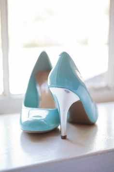 Something blue: wedding shoes. (Shoes by Jessica Simpson) Photos by Smitten Chickens Photography