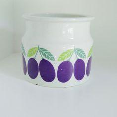 Arabia Pomona power food Plum Jar marmalade jam jar pot vintage design from Finland buy at etsy