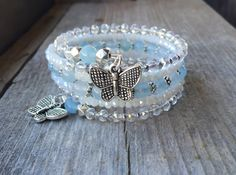 Pale Blue Butterflies Multi Coil Memory Wire by McHughCreations