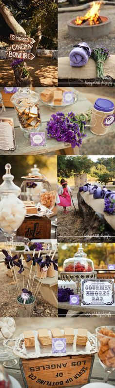 Lavender themed wedding, complete with movie screening, photo booth, tree swing & s'mores bar.