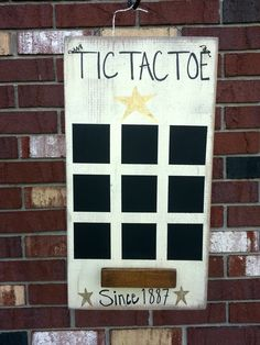 Diy tic tac toe board, rustic tic tac toe game board, how to make a chalk paint tic tac toe board, vintage tic tac toe game