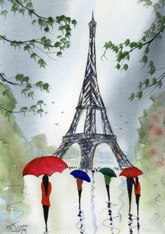 Watercolour Painting ~ By KJ CARR ~ Rainy Day Paris