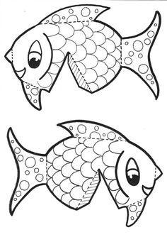poisson - volume à imprimer New Year's Crafts, Sea Crafts, Summer Crafts, Diy Crafts For Kids, Arts And Crafts, Paper Art, Paper Crafts, Animal Templates, Paper Animals