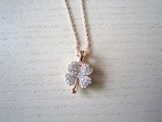 rose gold necklace-Clover necklace-good luck clover rose gold necklace-best gift for her or yourself on Etsy, $14.00