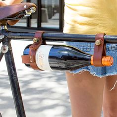 Bicycle Wine Rack in Brown Leather
