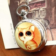 Women's Large Cute Cat Quartz Movement Necklace Watch with Mirror, Free Shipping On All Gadgets!