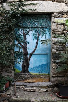 Valloria, a ancient village with painted doors, province of Imperia, Liguria ~Italy Portal, Knobs And Knockers, Door Knobs, Old Doors, Windows And Doors, Front Doors, Painted Doors, Wooden Doors, Door Entryway