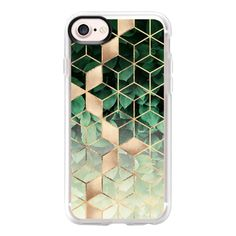 Leaves And Cubes - iPhone 7 Case And Cover (£31) ❤ liked on Polyvore featuring accessories, tech accessories, iphone case, clear iphone case, iphone cover case, iphone cases and apple iphone case