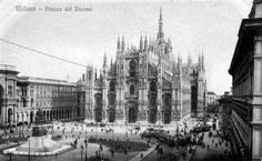 piazza Duomo 1910 Gallerie, Vintage Italy, Milano, Sicily, Old Photos, New York Skyline, Urban, Black And White, History