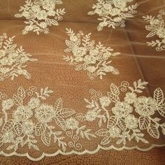 1 Yard Noble Golden Embroidery Car Bone Bud Silk Fabrics Flowers Design Floral Embroidered Mesh Lace * Check out the image by visiting the link.